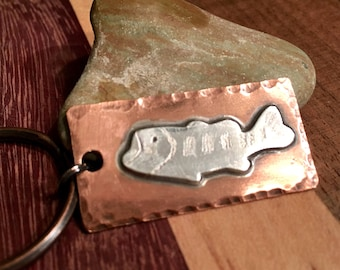 Bass keychain, fish keychain, big mouth bass, Personalized keychain