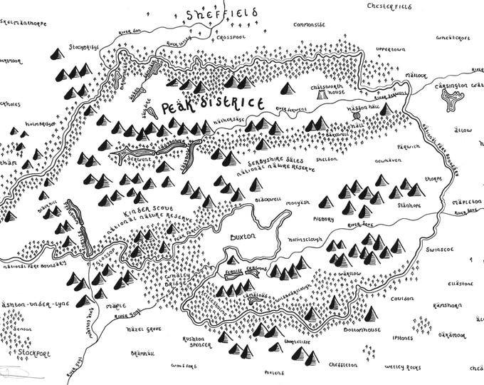 Peak District National Park - Bespoke Hand Drawn Map