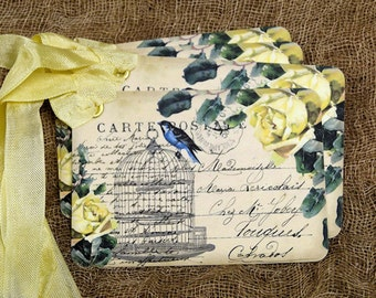 French Yellow Rose Bird Cage Postcard Gift or Scrapbook Tags or Magnet #644
