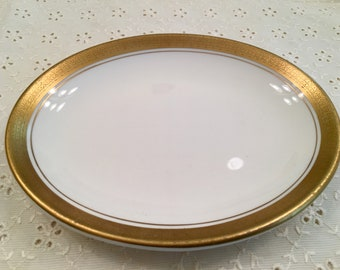 Vintage Shenango China Bread and Butter Plate - White with Gold Rim - Interpace A H-35 - Small Oval Plate