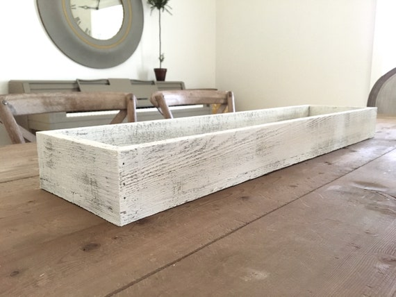 """Tray - White Washed l Wooden Long Tray 