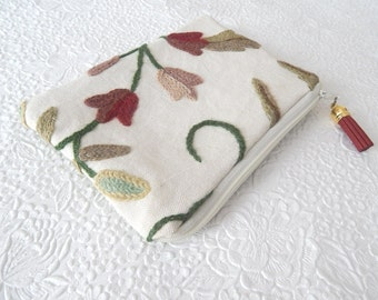 Floral red crewel embroidery pouches, wool floral clutch, bridal gifts,  makeup bag, cosmetic pouch, purse organizer