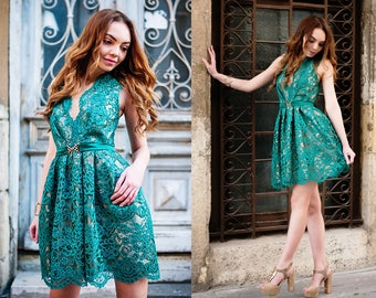 Lace Dress / Green Dress / Dress /Women's Dresses / Elegant Dress / Lace Womens Dress / Midi  Dress / Prom Dress