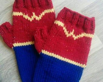 Wonder Woman Hand Knit Fingerless Gloves Wrist Warmers Ready to Ship!