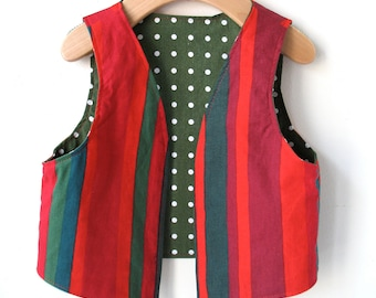 Size 3/4 Child's Holiday Vest  - Reversible Marimekko Cotton