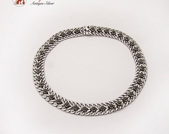 Double Link Chain Necklace Synthetic Cabochons Sterling Silver 1945