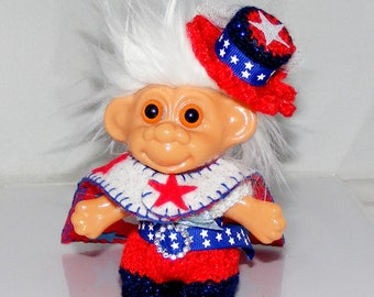"""Troll Doll Clothes, 4.5"""", Patiotic, 4th of July, Jumper, Reversible Cape and Hat"""