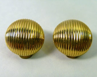 Vintage Clip On Earrings by NAPIER Gold Tone costume jewelry round gold button 1960s