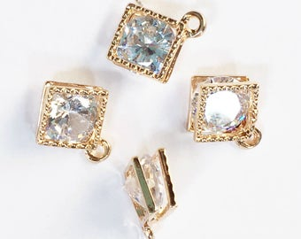 4 pcs of Cubic Zirconia  light gold charm 14x11mm, diamond square shape