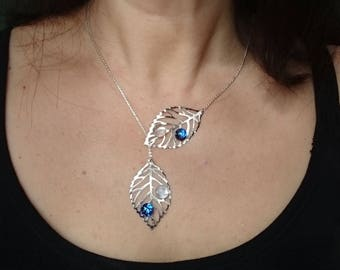 leaf necklace drops blue transparent glass fusing