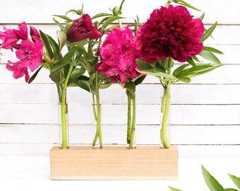 Test tube vase - bud vase - wooden vase - flower holder - flower vase - glass vase - minimalist vase - eco friendly vase - wood home decor