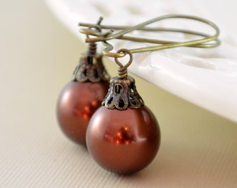 Dark Brown Earrings, Large Glass Pearls, Christmas Balls, Antiqued Brass Kidney Earwires, Fun Holiday Jewelry