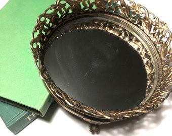 Hollywood regency mirror vanity tray, perfume mirror tray, footed mirror tray