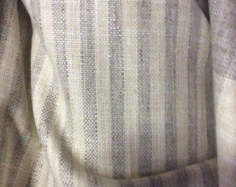 very french RUSTIC WOVEN half inch stripe zinc gray/cream linen/lots of textures tweed multipurpose fabric