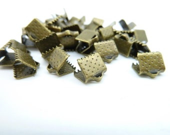 50pcs 8mm Antique Bronze Ribbon Ends Fastener Clasps