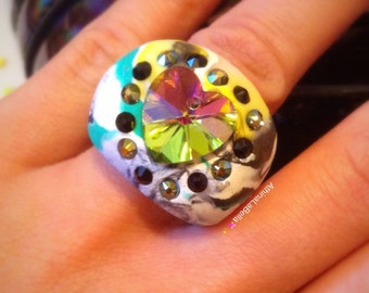 Holographic Ring - Psychedelic Jewelry - Psychedelic Ring - Crystal Heart Ring - Rainbow Jewelry - Crystal Ring - Groovy Jewelry