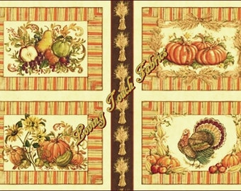"Windham Fabrics ""Let Us Give Thanks"" #36244 Fall Thanksgiving Pumpkins Cotton Placemats  Fabric Panel 24"" x 44"""