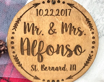 Personalized Mr. and Mrs. Ornament - Personalized Wood Ornament, Just Married, First Christmas Married, Wedding Gift, Anniversary Gift, Mod