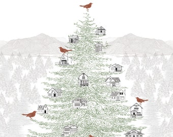 Nesting HOUSE TREE Imagineighborhood (Art Print) Architecture Drawing Cabin Cottage Bungalow Giant Pine Bough Holiday Gift Pacific Northwest