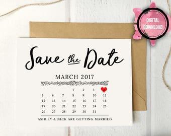 Digital Calendar Save the Date Personalized Digital Download Template. Calendar Engagement. Calendar Wedding. Personalized Engagement.