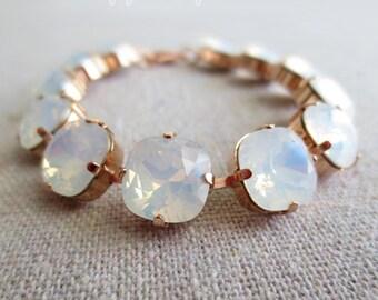 Swarovski White Opal Cushion Cut Square Crystal Rose Gold Tennis Bracelet Wedding Bridal Jewelry Bridesmaid Gifts