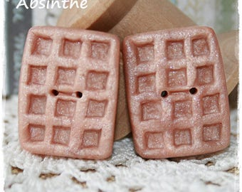 2 flat buttons waffles polymer clay - hazelnut Brown mother of Pearl - set of 2-