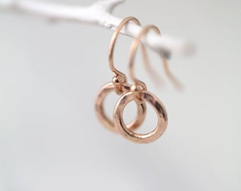 Tiny Circle Rose Gold Earrings for Women | Rose Gold Jewelry Handmade | Minimalist Earrings Pink Rose Gold Dangle Earrings