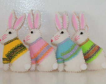 Handmade Felt Easter Bunny with Embroidered Jacket, Felt Hanging Ornament, Easter Decoration