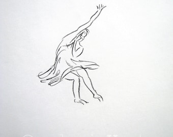 original charcoal drawing  - Modern Dancer - europeanstreetteam
