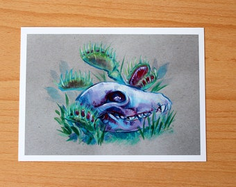 "Fox Skull with Venus Fly trap // ""Carnivores"" // Art Print"
