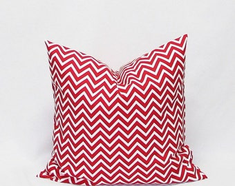 Red and white pattern Cushion cover Chevron