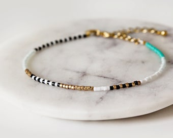 Teal, Black and White Miyuki Seed Bead Bracelet / 16k Gold Plated Bracelet / Wish Bracelet / Beaded Friendship Bracelet / Delicate Bracelet