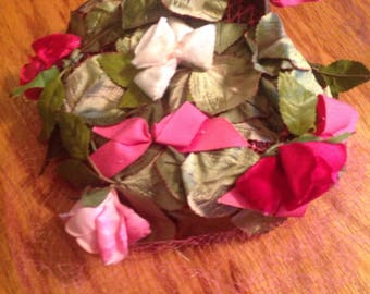 Pink Green Ribbons Roses Vintage Hat Veil Pink Tulle Miss Sally Victor