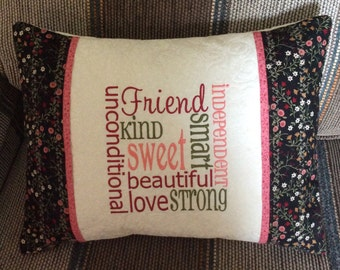 """CUSTOM FRIEND 16""""x12"""" embroidered, personalized quilted pillow COVER; friend gift, quilted pillow sham, custom embroidered gift"""