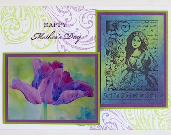 Handmade Mother's Day Card - PurpleTulip and Floral Lady in Limegreen and Purple.