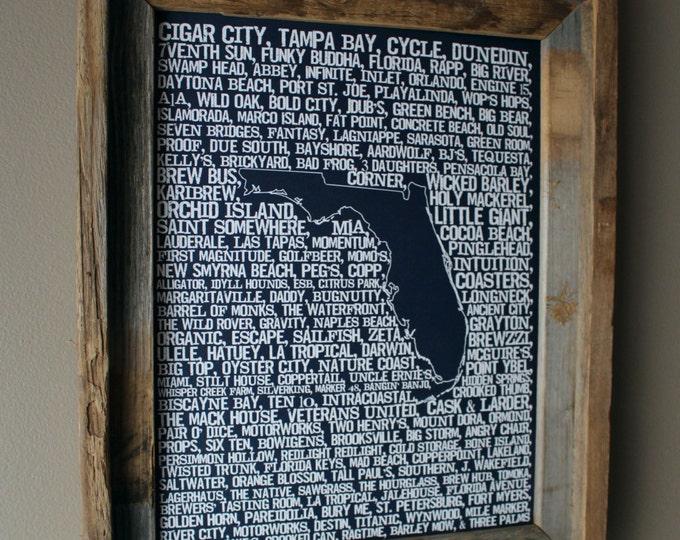 Beers of Florida Word Map (Dark Blue) - Unframed