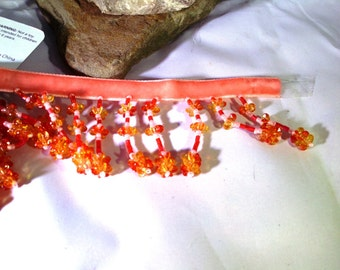 Beaded Trim in Coral and Gold