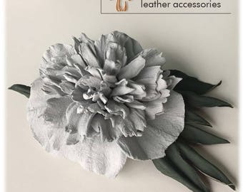 leather flower brooch pin, Leather brooch Peony,gift for her,peony,Cristmas gift idea