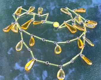 Art Deco Yellow Drops Necklace