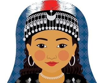 Assyrian Wall Art Print featuring cultural traditional dress drawn in a Russian matryoshka nesting doll shape