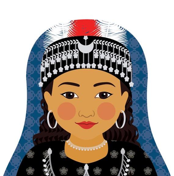 Assyrian Doll Art Print with traditional folk dress, matryoshka