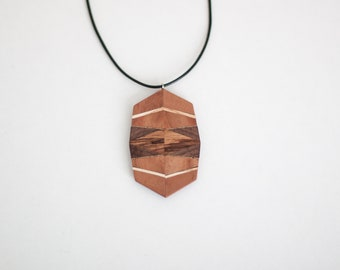 Geometric wooden jewelry Boho style Gift for her Wooden pendant Wooden necklace Handmade pendant Woodwork Polygon Boho pendant