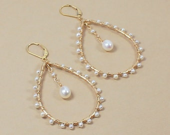 Pearl Hoop Earring, Gold or Silver, Teardrop Hoops, Unique Gifts for Her, White Freshwater Pearl, Large, Beaded Hoop Earrings