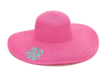 Pink Monogram Beach Hat Floppy Beach Hat Floppy Sun Hat Monogrammed Beach Hat Sun Hat Women Sun Hats For Women Monogram Floppy Hat