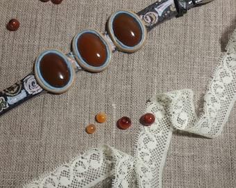 Bracelet cornelian Leather painted bangle Women's band Gift  Handmade jewelry
