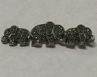 Vintage Sterling Silver Marcasite Three Elephant Brooch Pin