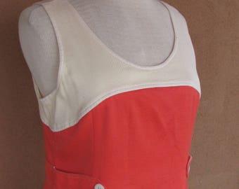 Vintage 90's - Orange and White Sleeveless Summer Dress - Size 12 European