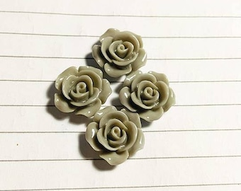 "Set of 4 roses ""gray"" 15 mm"