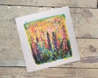 Colourful Foxglove Field Greetings Card
