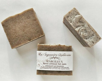 Savon L'Argileux, Savon artisanal fait main 100% naturel, Rhassoul Clay Soap, Cold process All Natural Handmade Soap